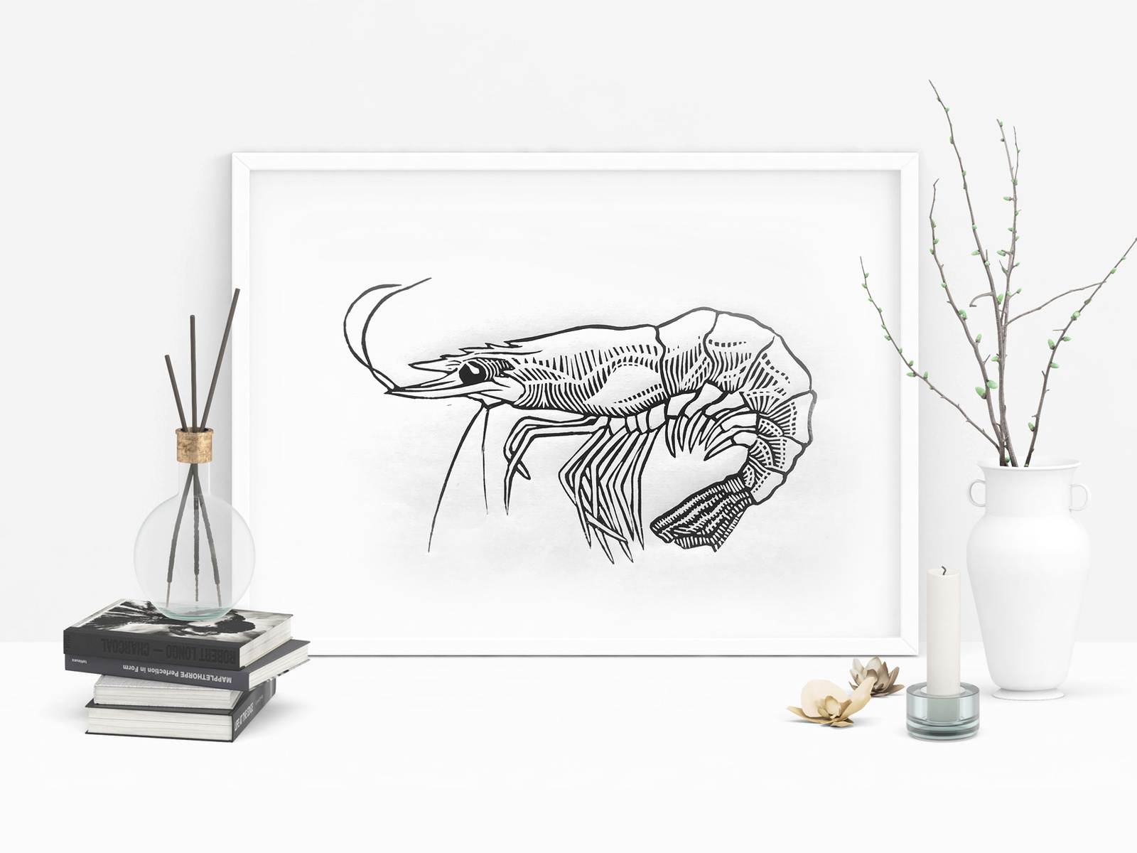 Linocut Prawn by Anna Frost on Dribbble