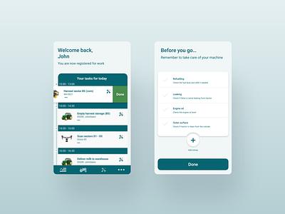 Task manager for farm employees to do list task manager task list farm app design adobe xd interface