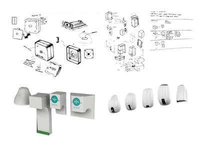 Touch-Free Door Opener Sensor Sketches prototype industrial design industrial touch free touch-free 3d render sensor door opener