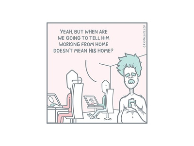Somebody should tell him pastel panel illustration handrawing developer comic ecommerce client