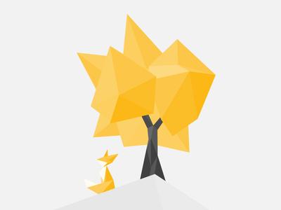 Origami Fox and Tree