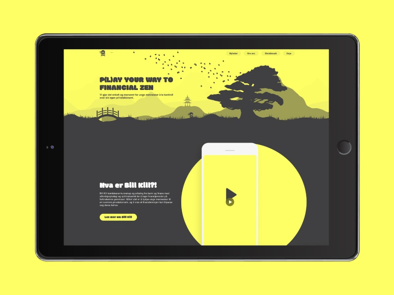 Bill Kill Landing Page ninja norway norsk bills game finance gamification prototype app bill kill landing page