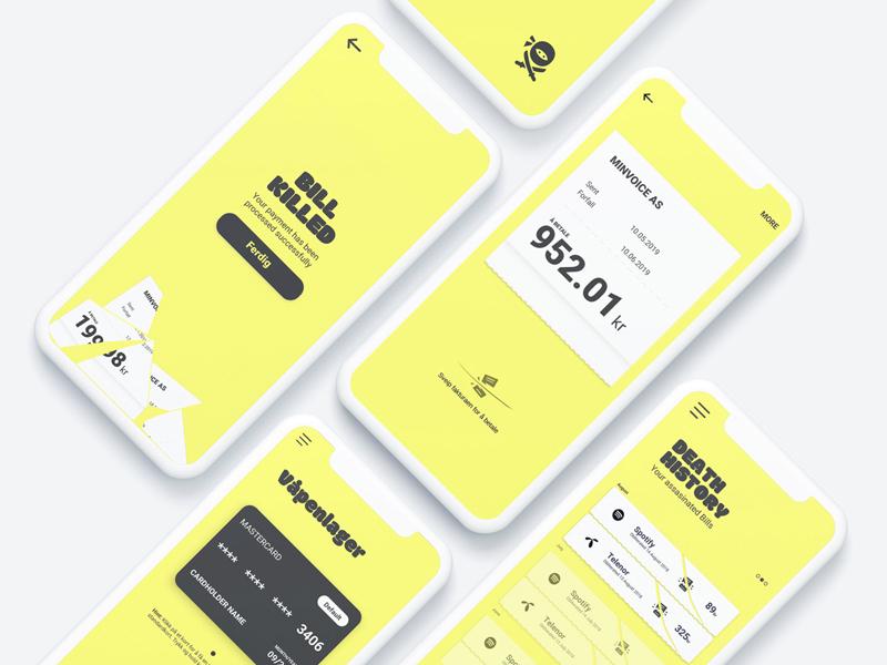 Bill Kill App identity ninja norway norsk bills game finance gamification prototype app bill kill landing page