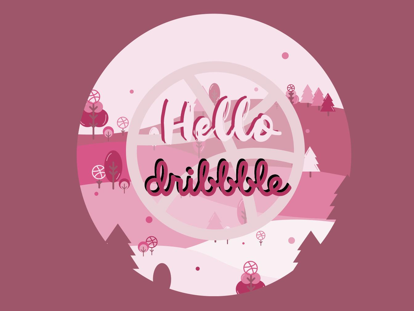 Hello Dribbble pink dribbble best shot dribbble illustrator draw illustrator design illustrator art illustrator design icon typography logo app illustration hello hello dribbble