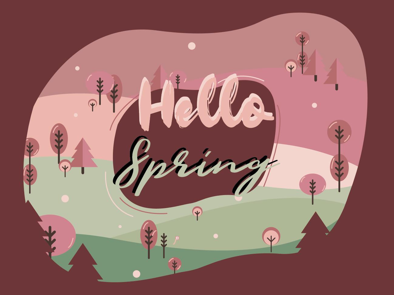 Hello Spring Illustration minimal type flat web vector icon branding logo interface design abode art illustrator art illustrations illustration design illustration art hellospring illustrator conception illustration design