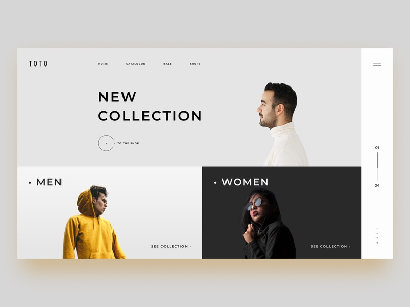 TOTO  (Home page) home page shopping clothes shop collection clothes branding website ux web 2020 ui minimal logo flat design