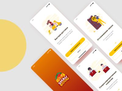 Mobile app Shauroom (welcome screen) illustration logo design ux ui screen wekcome shaurma mobile app
