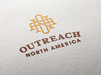 Outreach North America logo brown yellow cross national organization church presbyterian ministry outreach north america