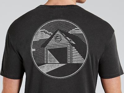 Garage clouds sky building lines tee t-shirt shirt illustration woodworking workshop shed garage