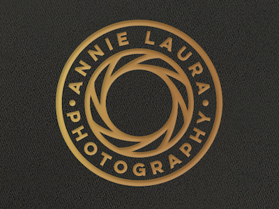 Annie Laura Photography black photography badge gold minimal lens circle logo