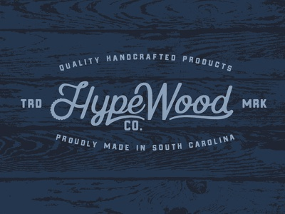 Hype Wood Co. wood woodworking logo wordmark script saw south carolina handcrafted