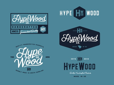 Hype Wood Co. handcrafted south carolina saw script wordmark logo woodworking wood