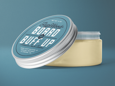 Board Buff Up branding label packaging paste wax blue finish mineral oil beeswax woodworking hype wood