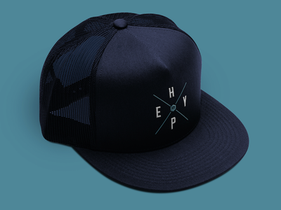 Hype Headwear headwear branding logo blue navy trucker hat hat apparel hype wood