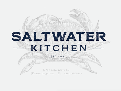 Saltwater Kitchen branding typography illustration logo weathered rope trident kitchen saltwater restaurant logo restaurant branding logo design