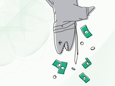 Loan Shark loan shark money vector line flat illustration shark