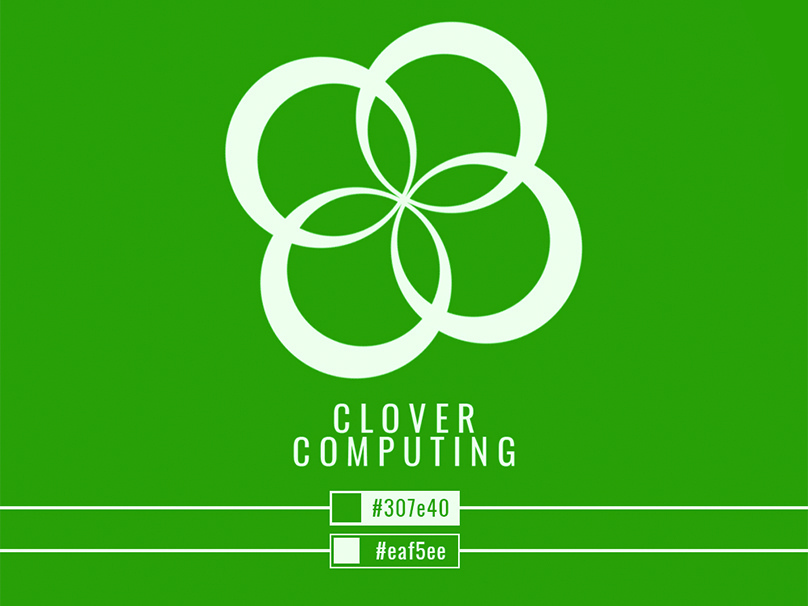 Clover Computing initial design typography icon logo vector illustration design branding