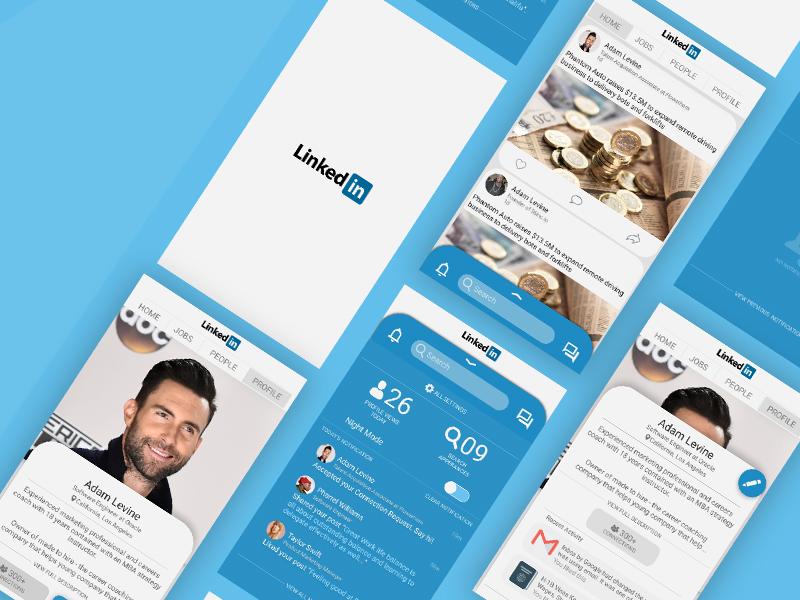 Concept Design for Linkedin social app sketch profile swipe blue ui design interaction design figma linkedin