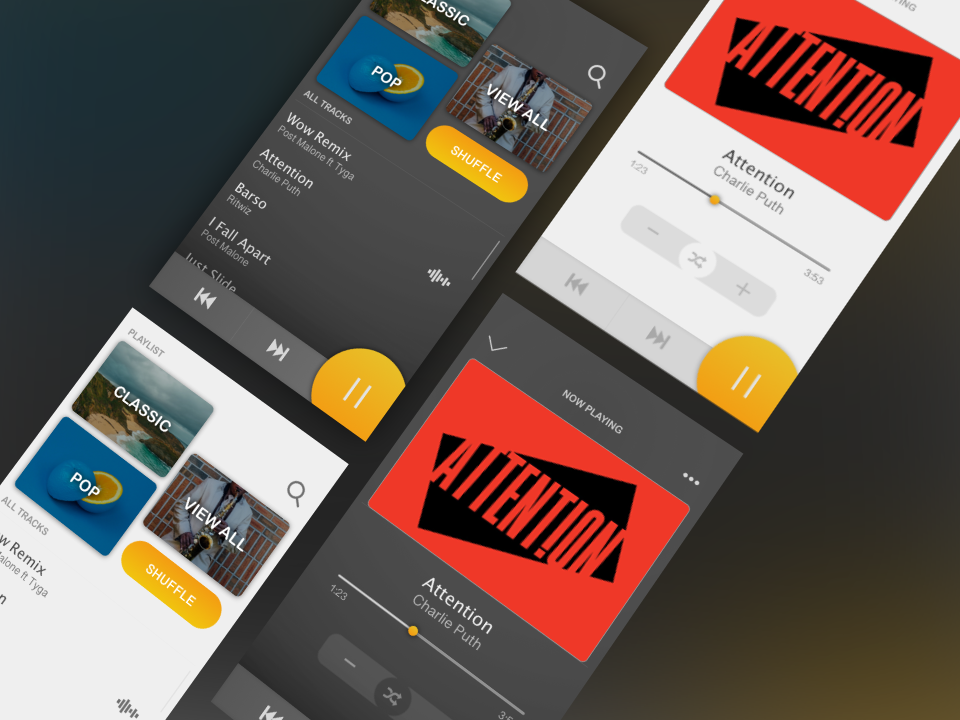 Concept Design for Music Player dark mobile app design ui ux design music app ui music app