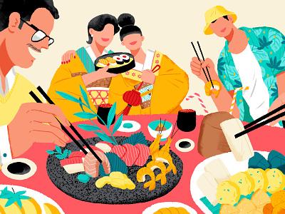 Incredible Food Journey japanese food thailand japan lifestyle shanghai illustration airbnb food journey