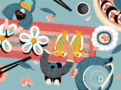 Japan Japan sakura sushi japanese food japan lifestyle airbnb illustration