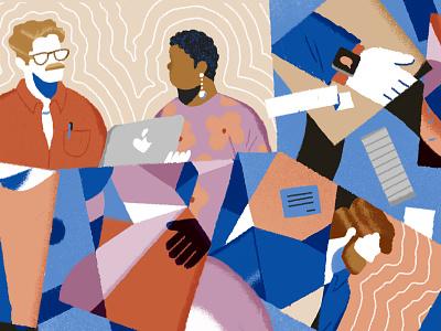 Empowering Conversations office teamwork women day lifestyle illustration