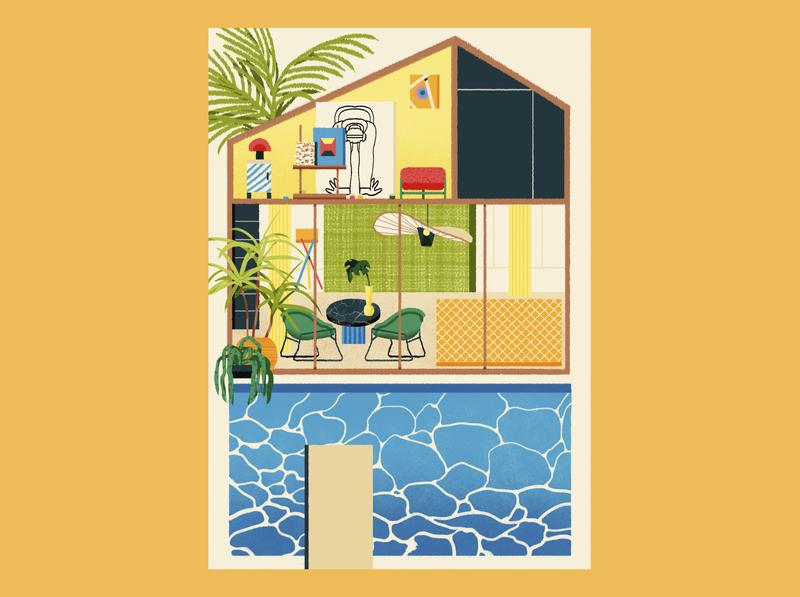 Swimming Pool magazine movie art airbnb lifestyle shanghai illustration