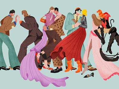 illustration for a fashion review on Gucci 2020 SS magazine shanghai lifestyle illustration fashion illustration gucci