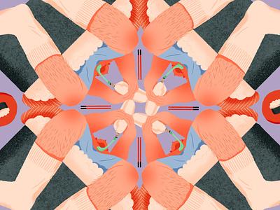 sushi boy pattern japan sushi lifestyle shanghai illustration