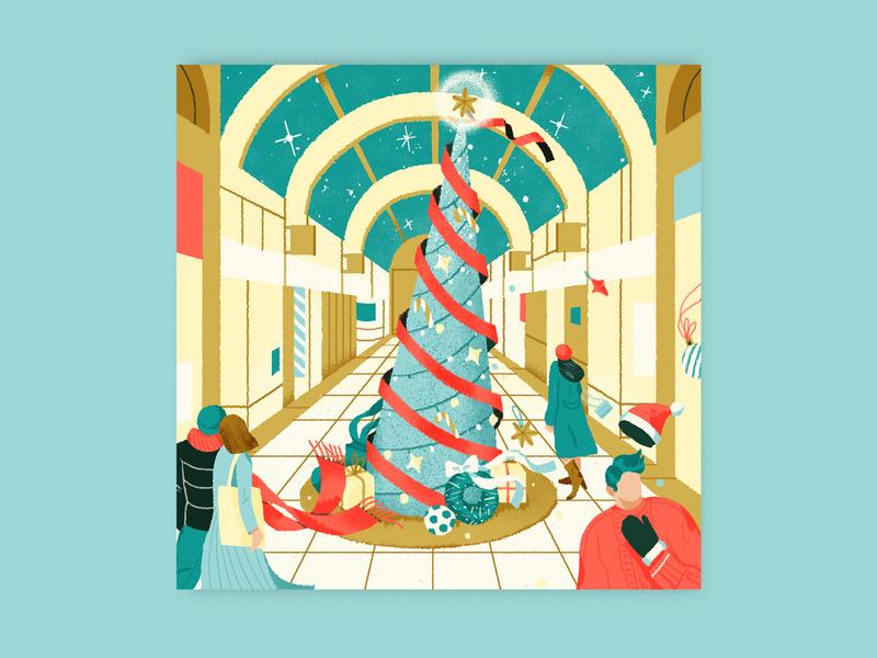 Christmas shopping mall for Angels on Earth magazine shopping mall christmas tree christmas cartier cover art magazine branding shanghai lifestyle illustration