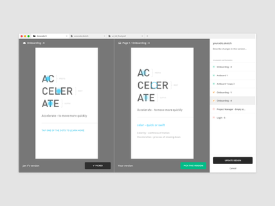 Avocode - Design versioning github designers update delete tooltip pick sync upload sketch version control version git