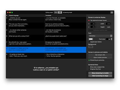 Subtitles for theatre | Dark mode apple dark opera macos osx app mac theatre theater subtitle surtitle surtitles