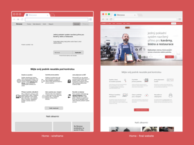 Storyous - wireframe vs final website