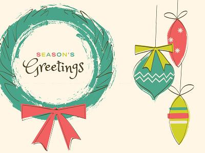Seasons Greetings illustration retro typography xmas