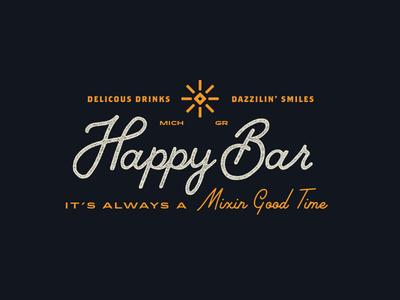 Happy Bar Logo vintage script logo