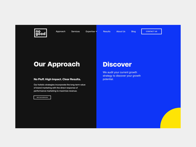 NoGood website — Approach page circle graphic design interaction uxui motion graphics vector design branding web webdesign ui minimalism visual  identity animation