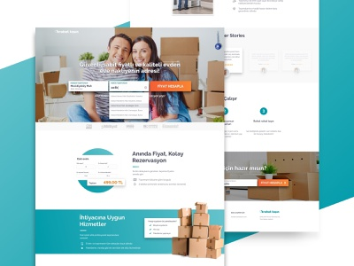 Rahat Tasin Home teal orange service turkey ui ux moving search landing homepage rahattasin
