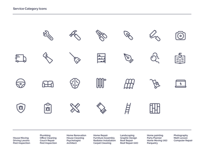 Service Icons line art outline icon iconset app ui icons armut