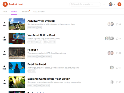 Product Hunt Games Feed