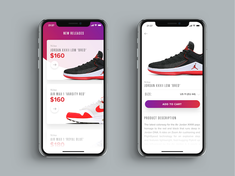 Sneakers Shopping UI ui ios11 ecommerce ipx iphone ux ios mobile fashion sneakers