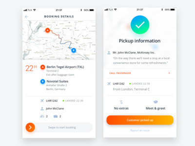 Driver app UI