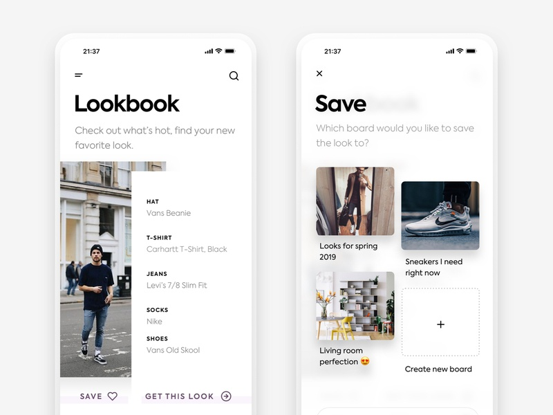 Lookbook minimal grid boards bookmarks modal popover discover browse lookbook fashion app fashion app iphone xr iphone xs iphone x iphone 10 iphone ios ux ui