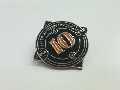 Tenth Anniversary Club Lapel Pin lapel pins identity pin badge enamel pin enamel badge lapel visual identity branding logo lapel pin pin