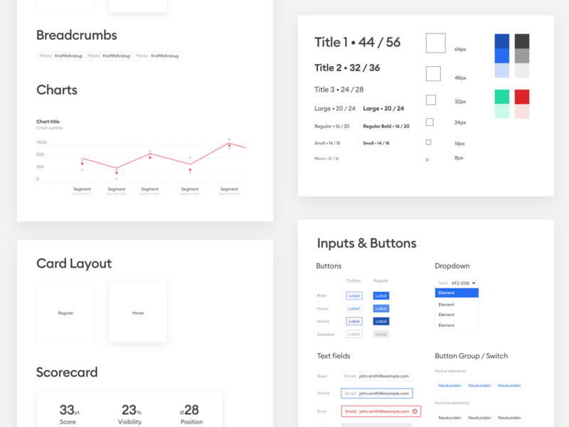 Dashboard Style Guide swatch colors data visulization analytics cards chart graph graphs charts ui kits ui kit palette design systems style tile design system style guide dashboard ux ui