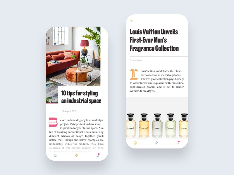 Drop Caps simple minimalist minimal android ios drop caps drop cap blog magazine editorial app app design mobile ui ux typography