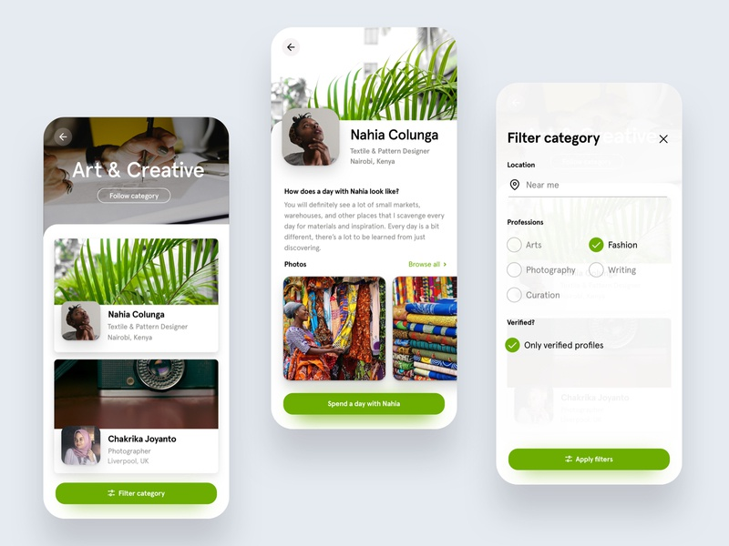 Categories, profiles, filters filtering simple mentors profile platform mobile iphone ios cards card browse filters minimal ux ui filter category categories app