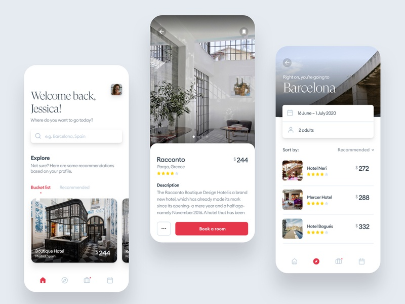 Booking flow: Boutique hotels designer boutique uiux ux mobile clean minimal android iphone flow booking app ui hotels hotel
