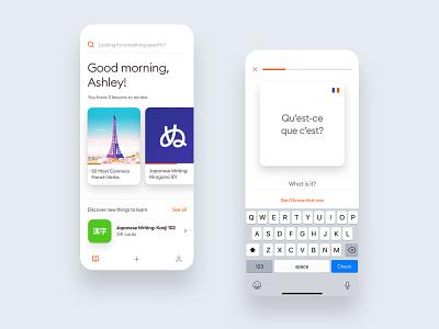 Learning: Flashcards UI clean minimal interface platform educational ux ui application app mobile iphone ios education learning flashcards