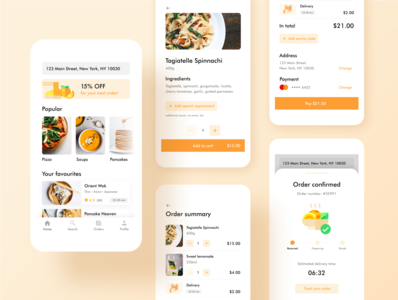 Food & Drink Delivery App for Mobile design restaurant ux ui mobile discount payment progress menu drinks oder food app food summary list offer delivery confirmation checkout banner