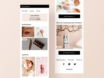 Makeup Promos Email For Mobile categories photos ux mobile ui women feminine voucher discount code campaign email banner price ui mobile products beauty makeup cosmetics promo discount